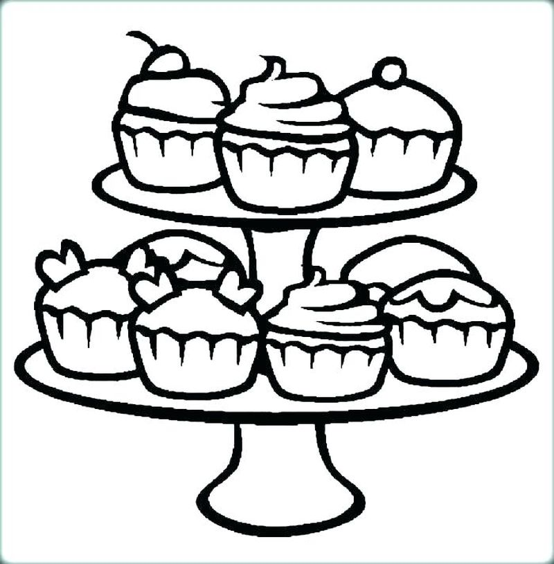 Cupcake CookieAnd Cake Coloring Pages