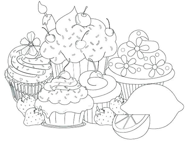 Cupcake Hello Kitty Coloring Pages