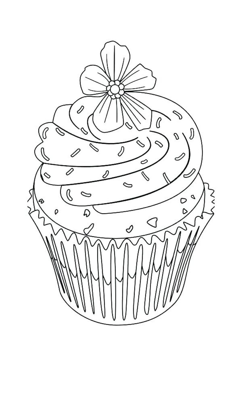 Cupcake With Candle Clipart Coloring Pages