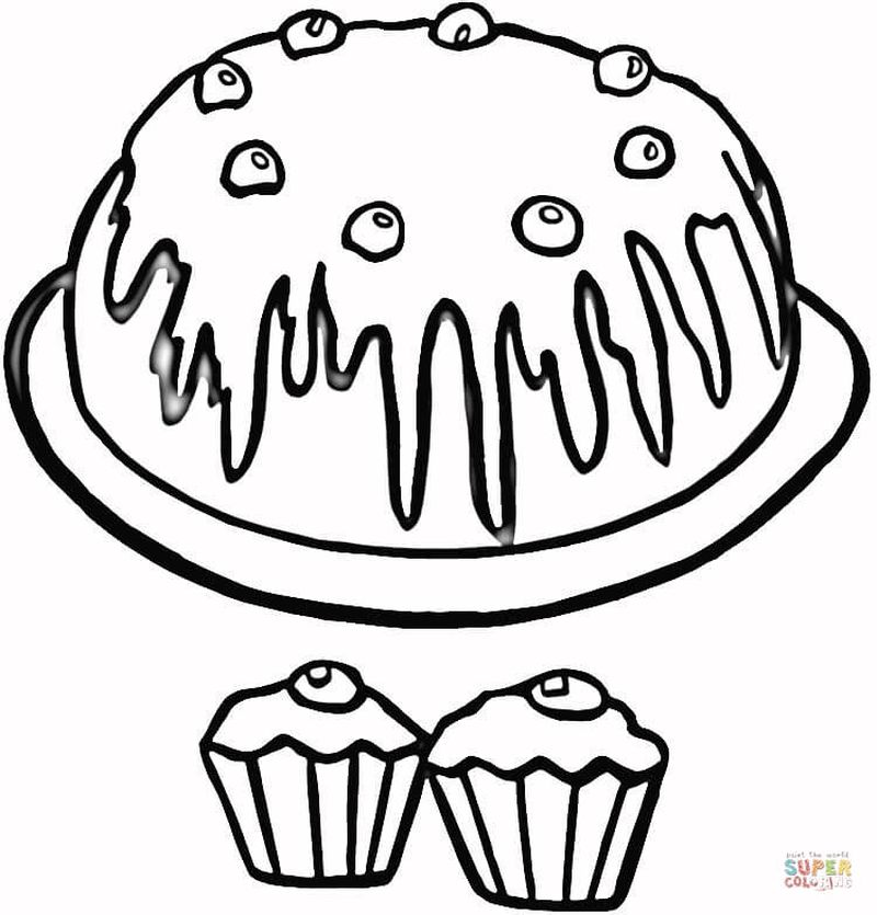 Cute And Free Cupcake With Faces Food Coloring Pages