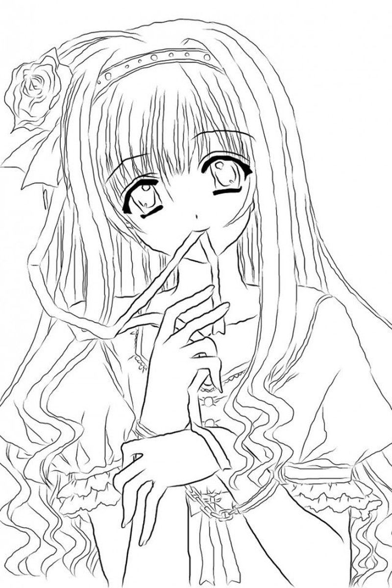 Cute Anime Girl Coloring Pages For Best Friends