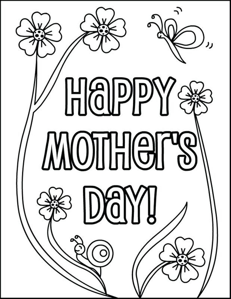 Cute Mothers Day Coloring Page