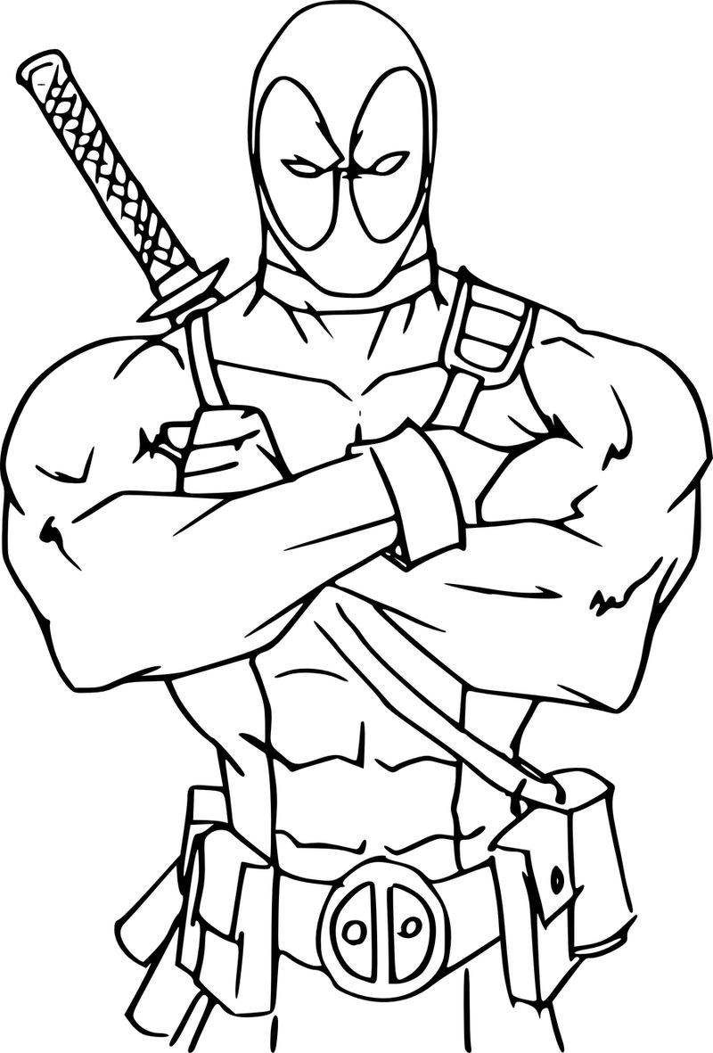 Deadpool Coloring Pages Colored