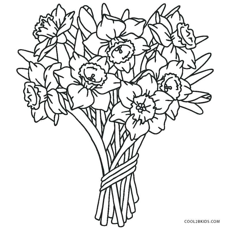 Dog With Flowers Coloring Pages