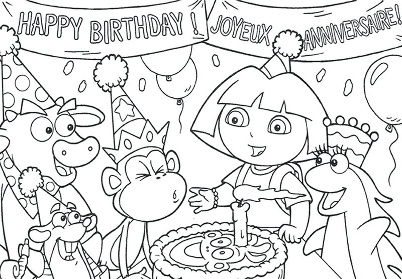 Dora Coloring Pages Christmas