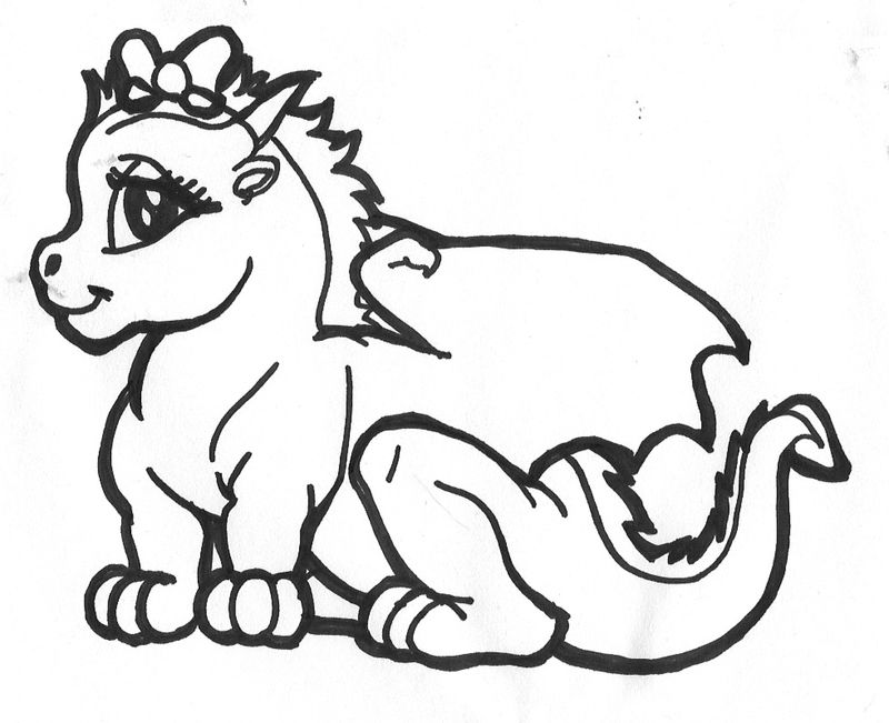 Dragon Eating Ice Cream Coloring Page