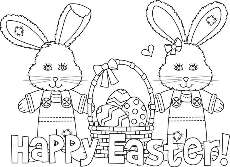 Easter Bunny And Chicks Coloring Pages