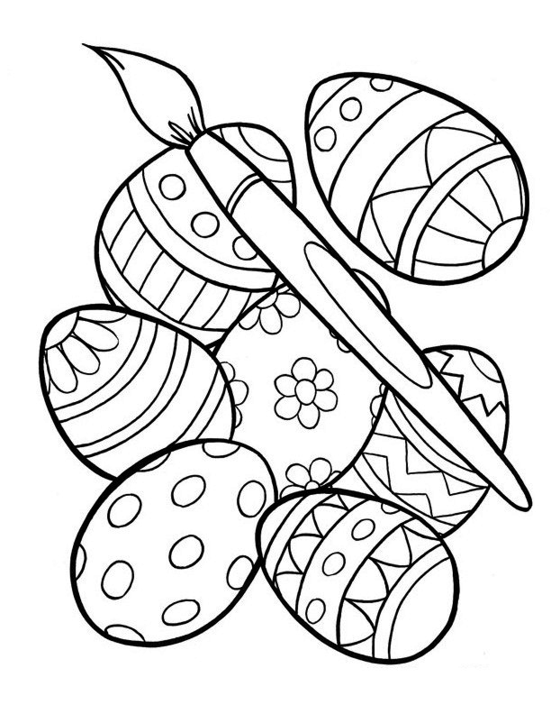 Easter Coloring Pages Painting Eggs
