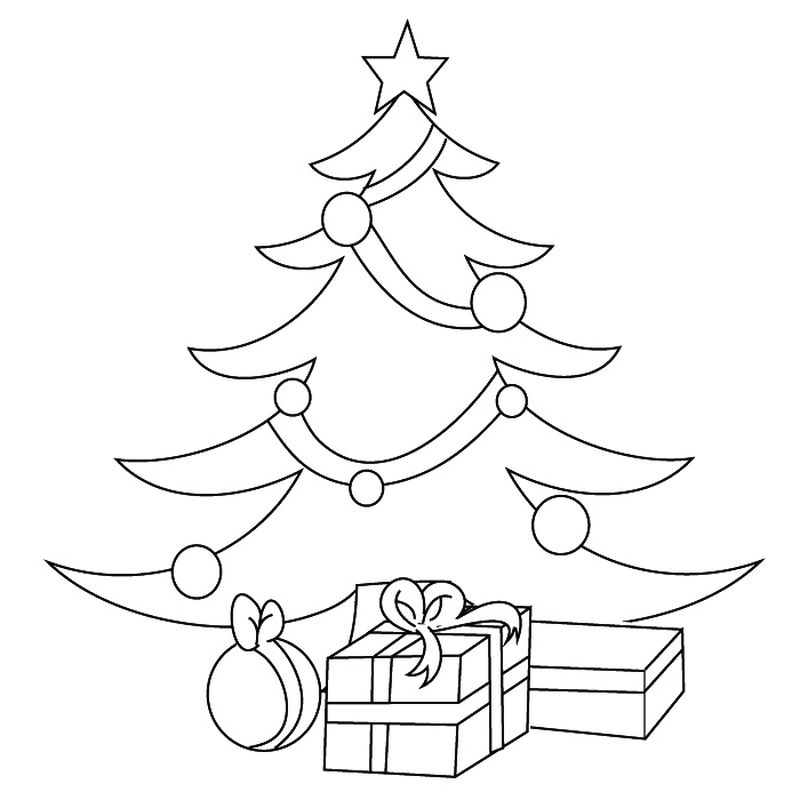 Easy Christmas Tree Coloring Pages
