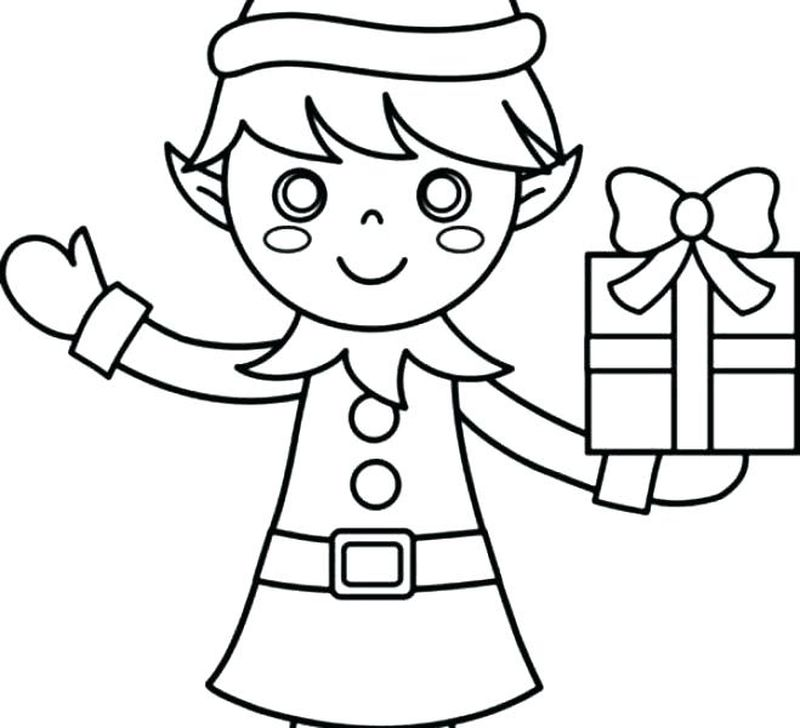 Elf Colouring Pages Free