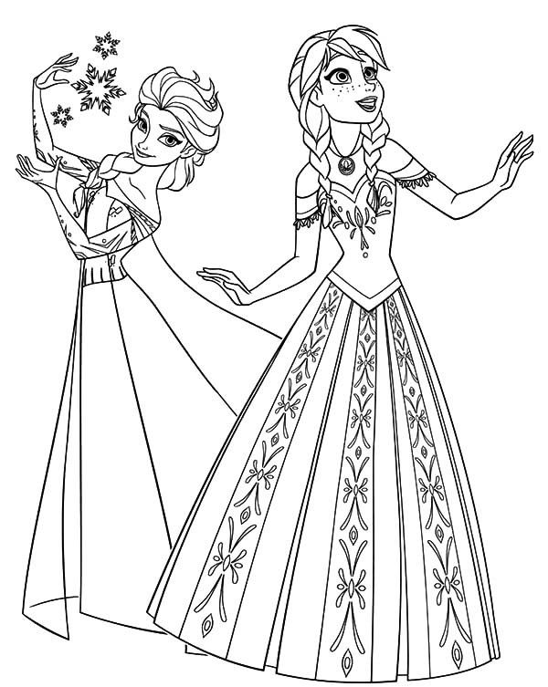 Elsa Black And White Coloring Pages