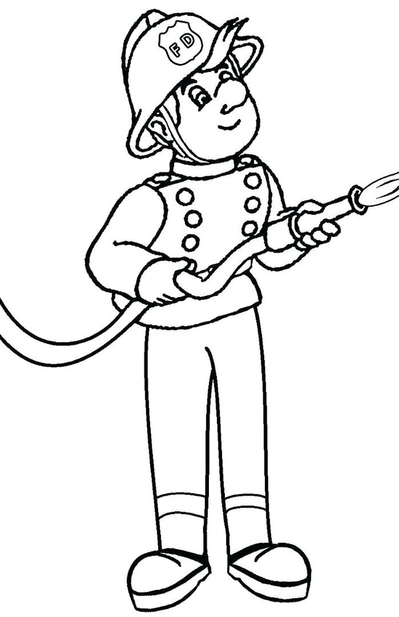 F Is For Fireman Coloring Page