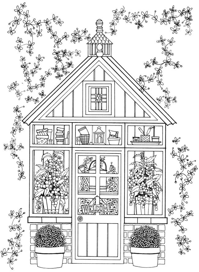 Fairy House Coloring Pages For Adults