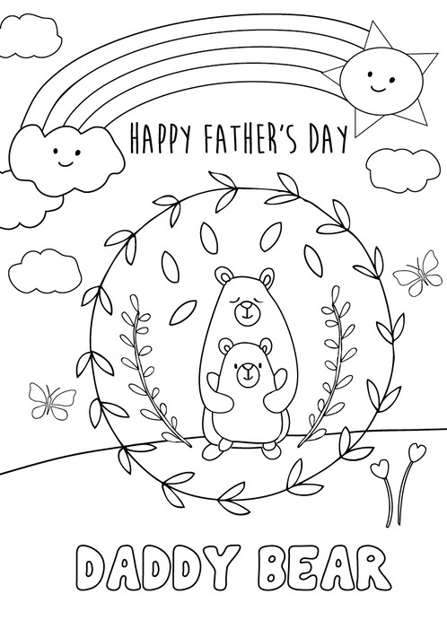 Fathers Day Coloring Page Card