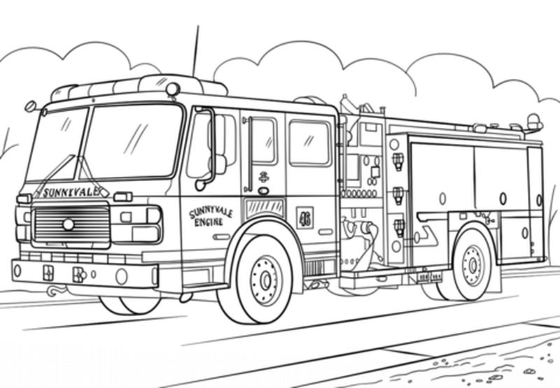 Fire Engine Colouring Pages
