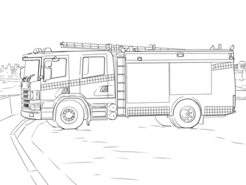 Fire Truck Colouring Pages