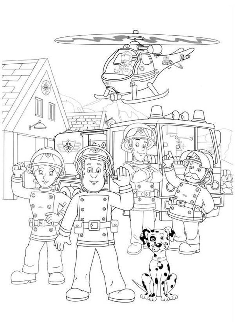 Fireman Colouring In Page