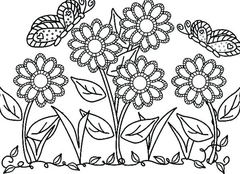 Flowers Coloring Pages Easy