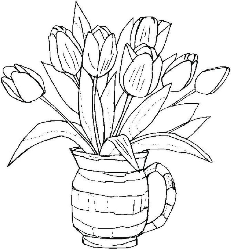 Flowers Coloring Pages Finished