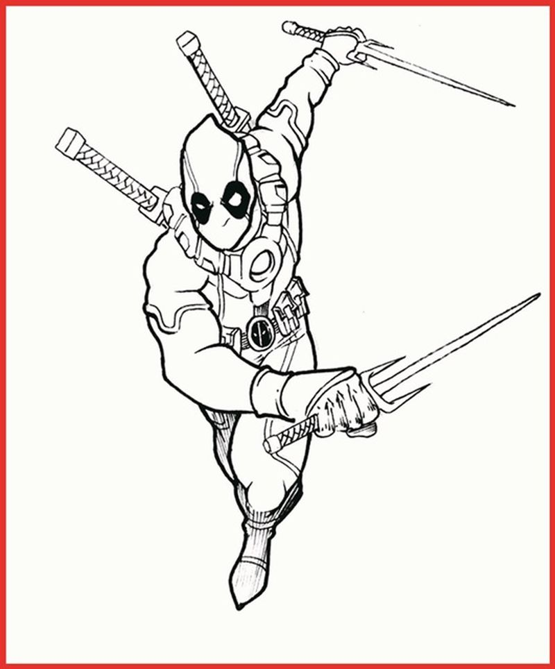 Free Deadpool Coloring Pages pdf