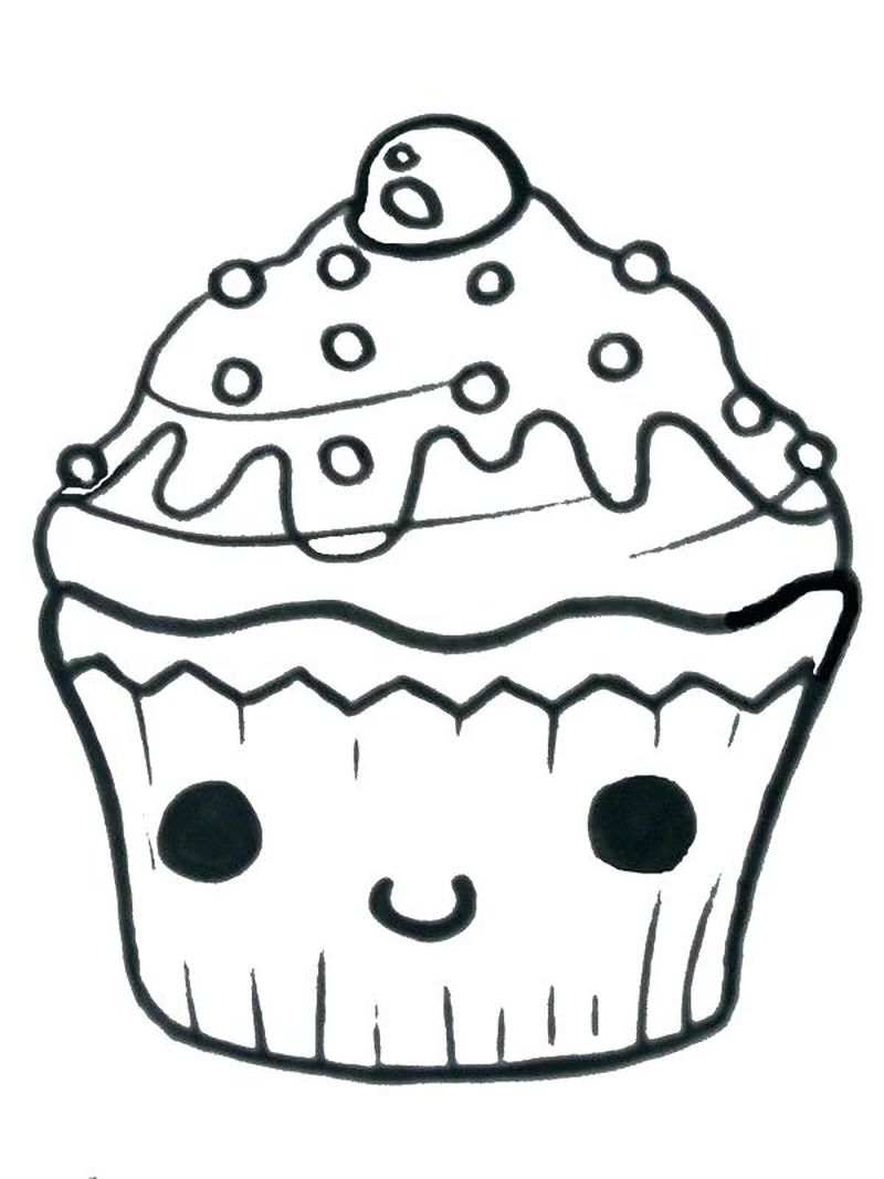 Giant Cupcake With Emoji On Top Coloring Pages