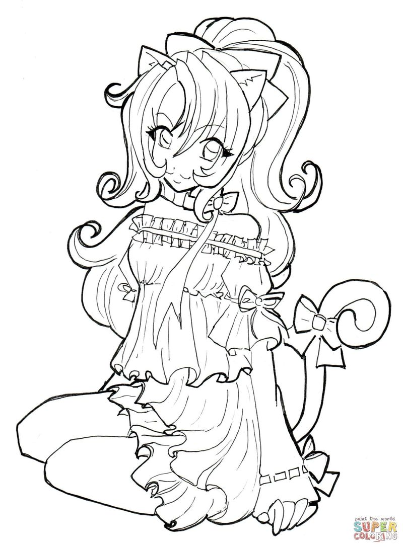 Girl Anime Coloring Pages For Adults