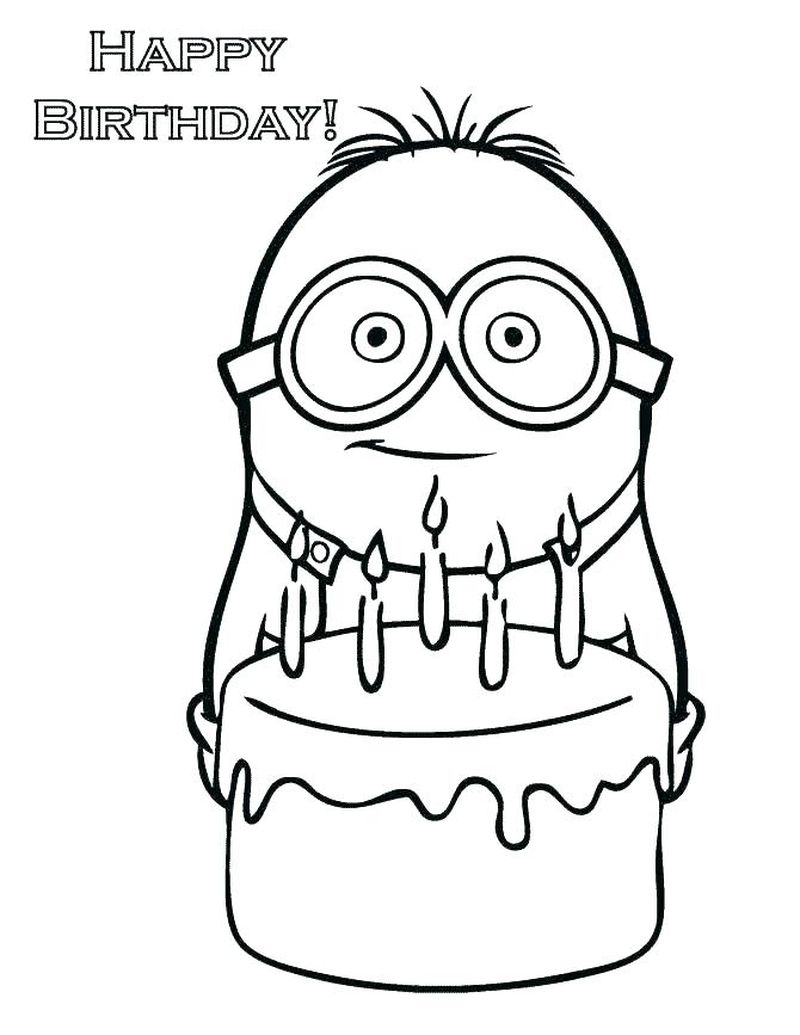 Happy Birthday Elephant Coloring Page