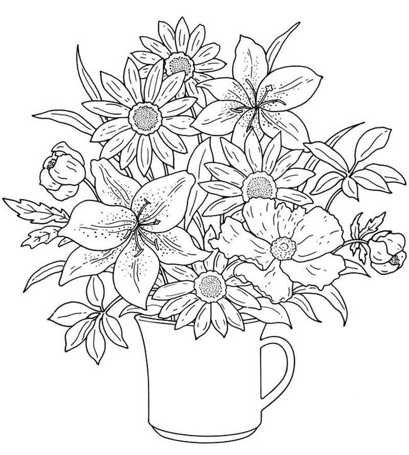 Happy Birthday Flowers Coloring Pages