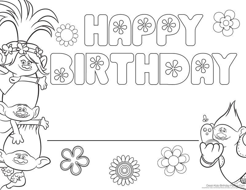 Happy Birthday Girl Coloring Page