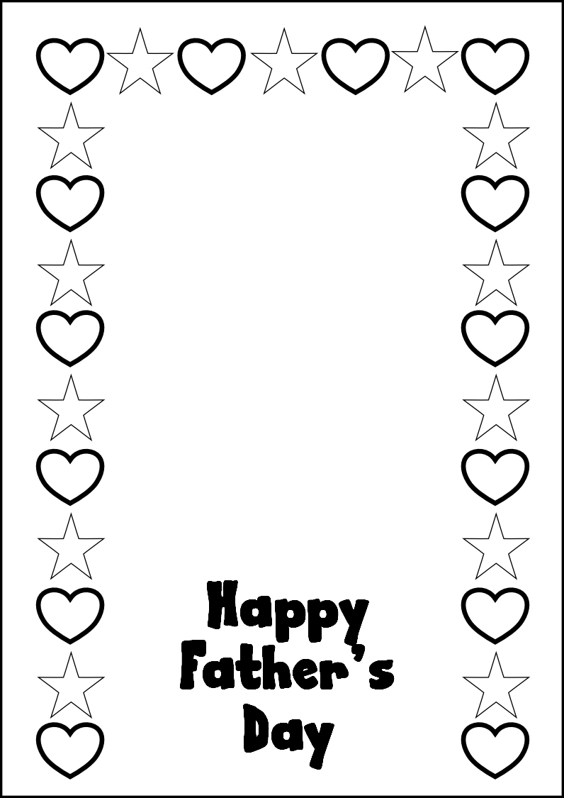 Happy Fathers Day Card Coloring Page
