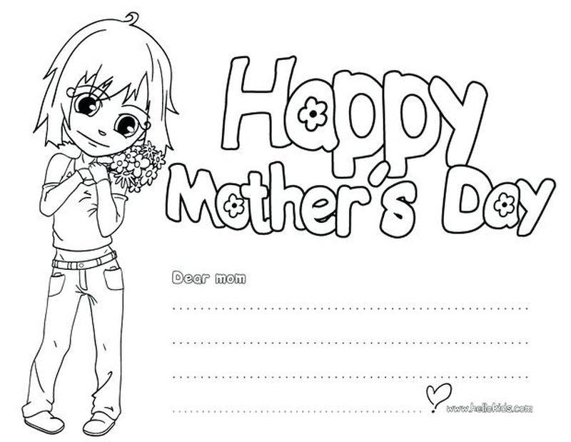 Happy Mothers Day Coloring Page Flower For Mother