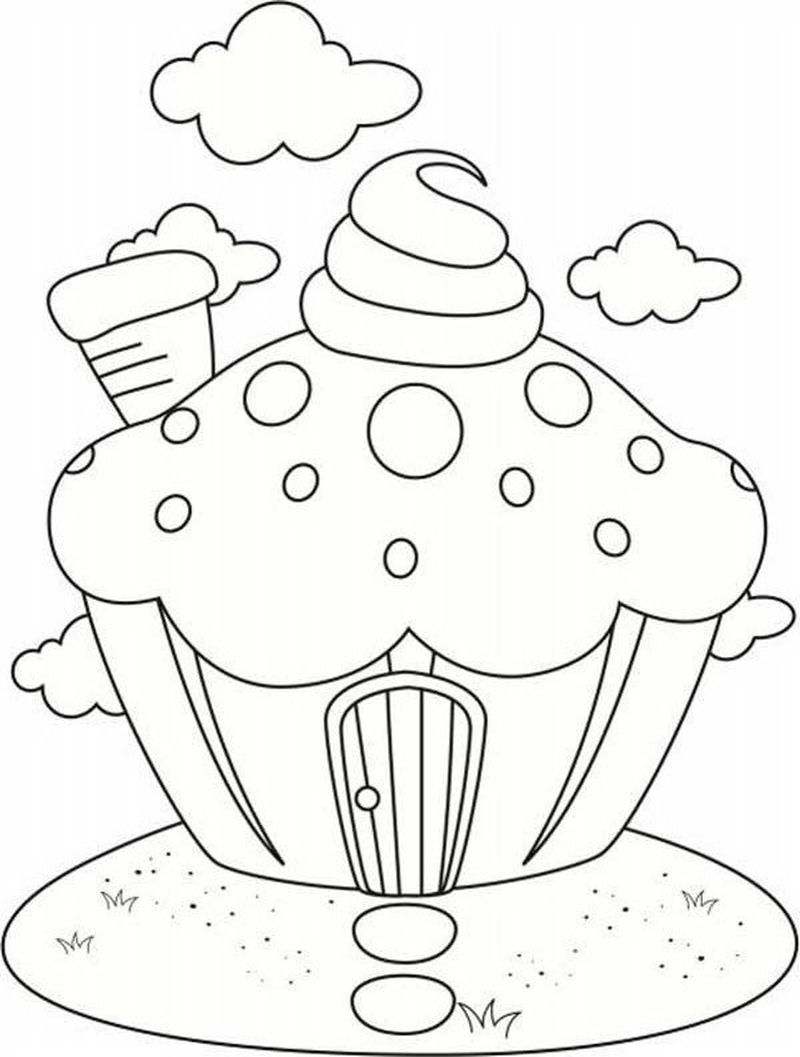 Heart Cupcake Coloring Pages