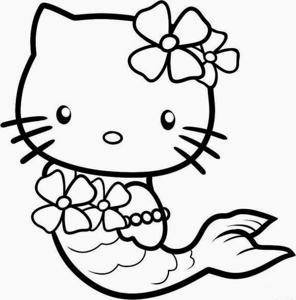 Hello Kitty Coloring Pages Mermaid
