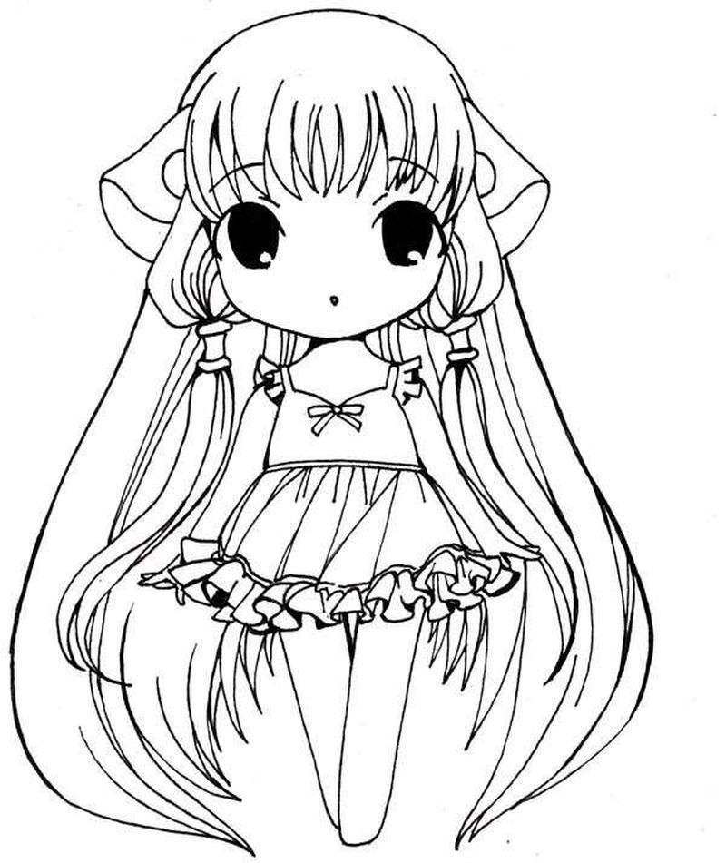 Hot Anime Girl Printable Coloring Pages