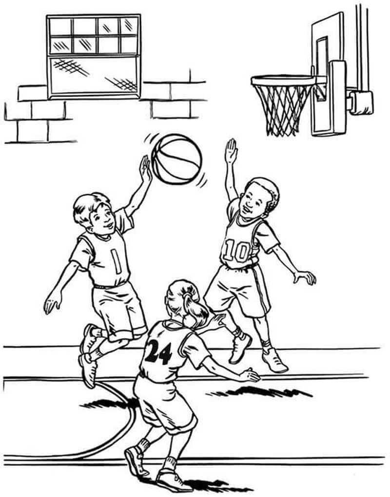 Minnie Basketball Coloring Pages