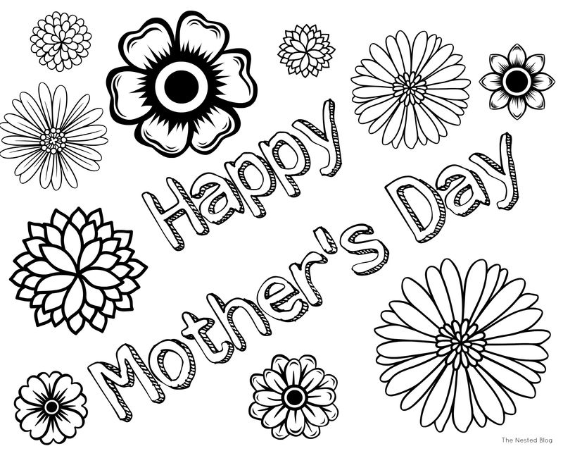 Mothers Day Flower Pot Coloring Page