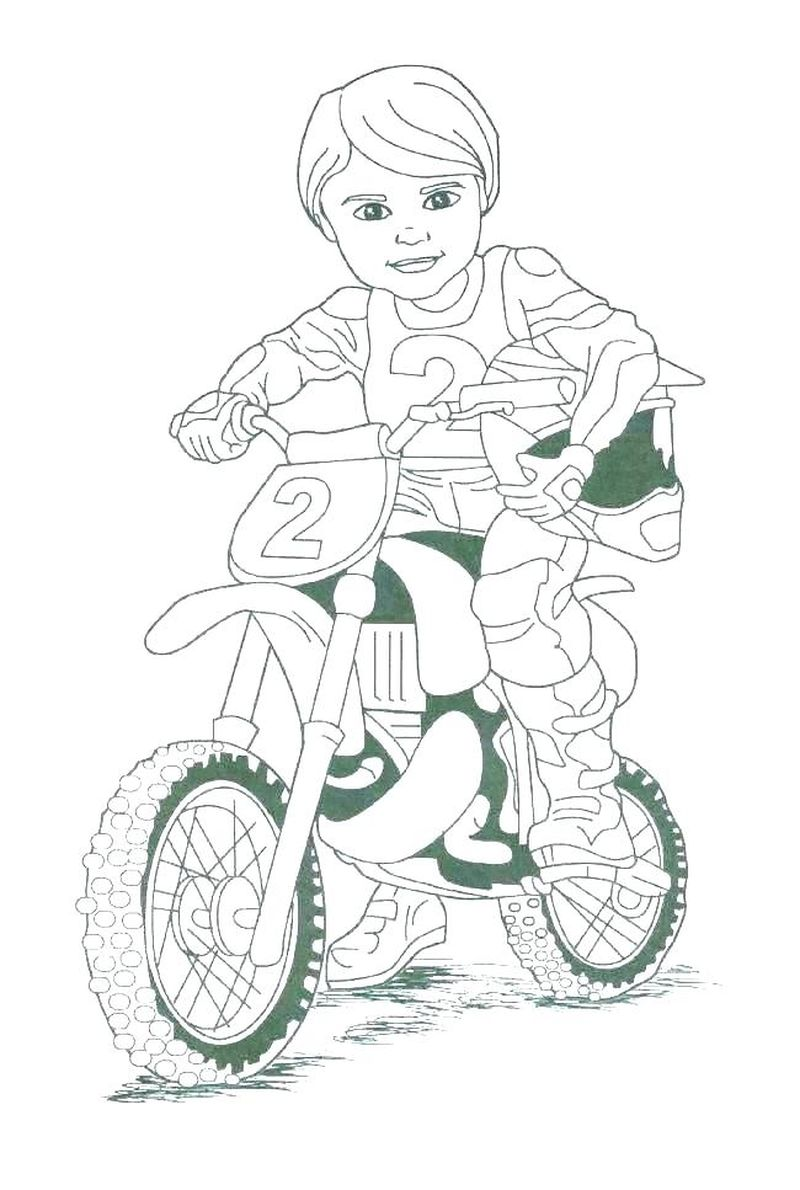 Motorcycle With Driver Coloring Pages