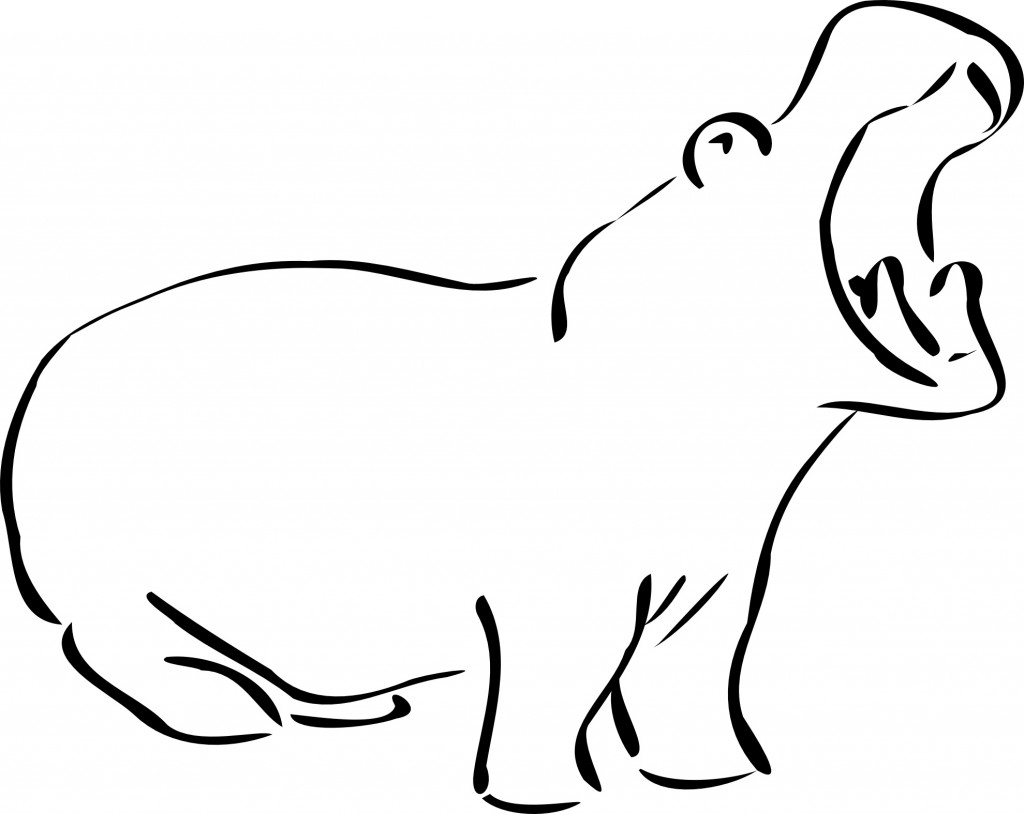 New Free Hippo Coloring Pages
