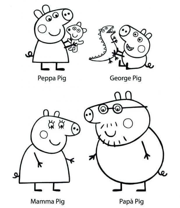 Peppa Pig Black And White Coloring Page