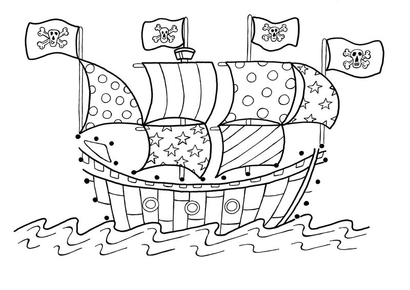 Pirate Skull And Crossbones Coloring Pages