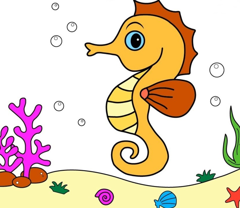 Print Free Seahorse Coloring Pages