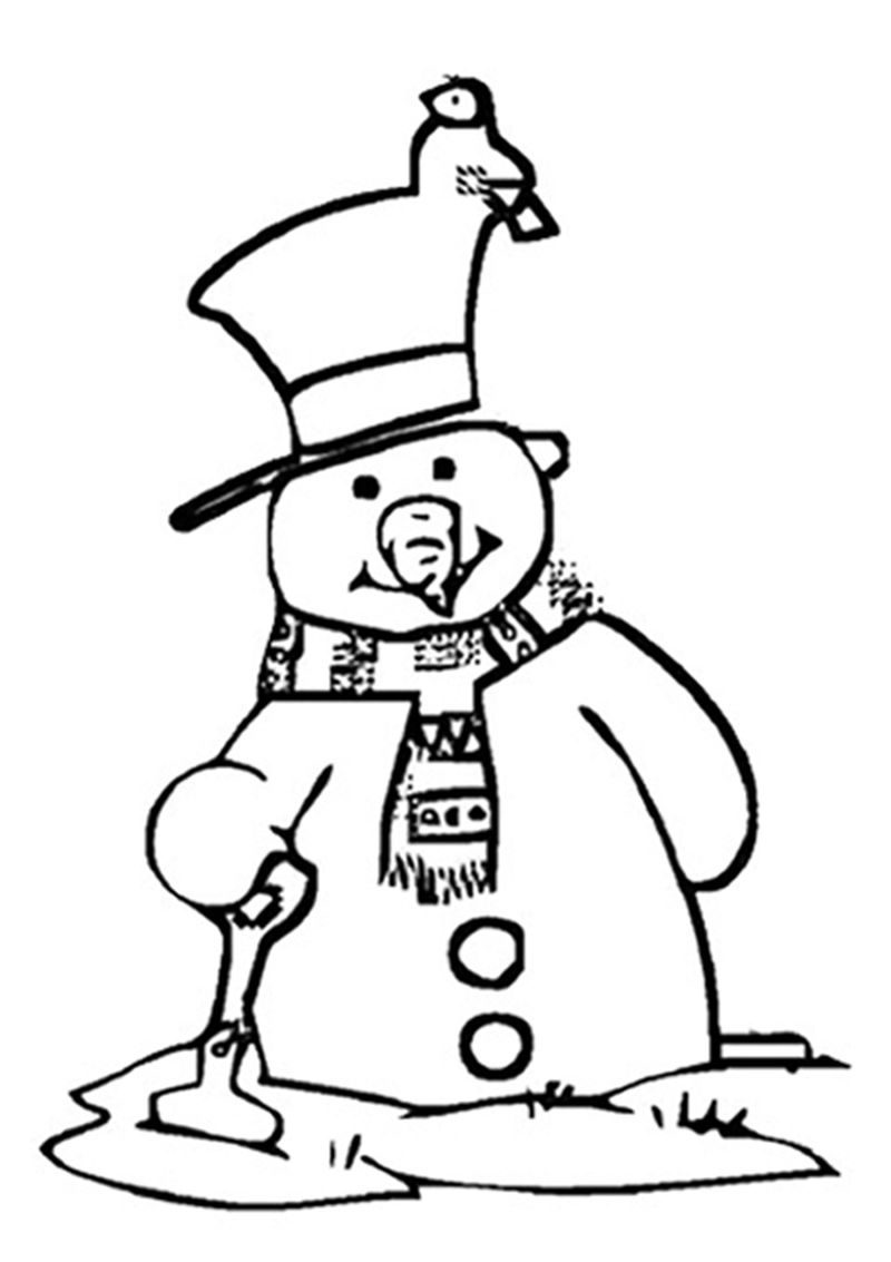 Realistic Snowman Coloring Pages