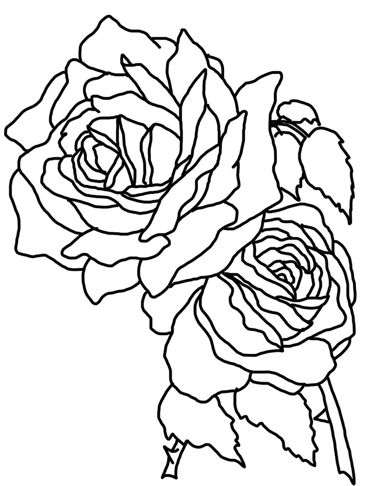 Rose Coloring Pages Heart