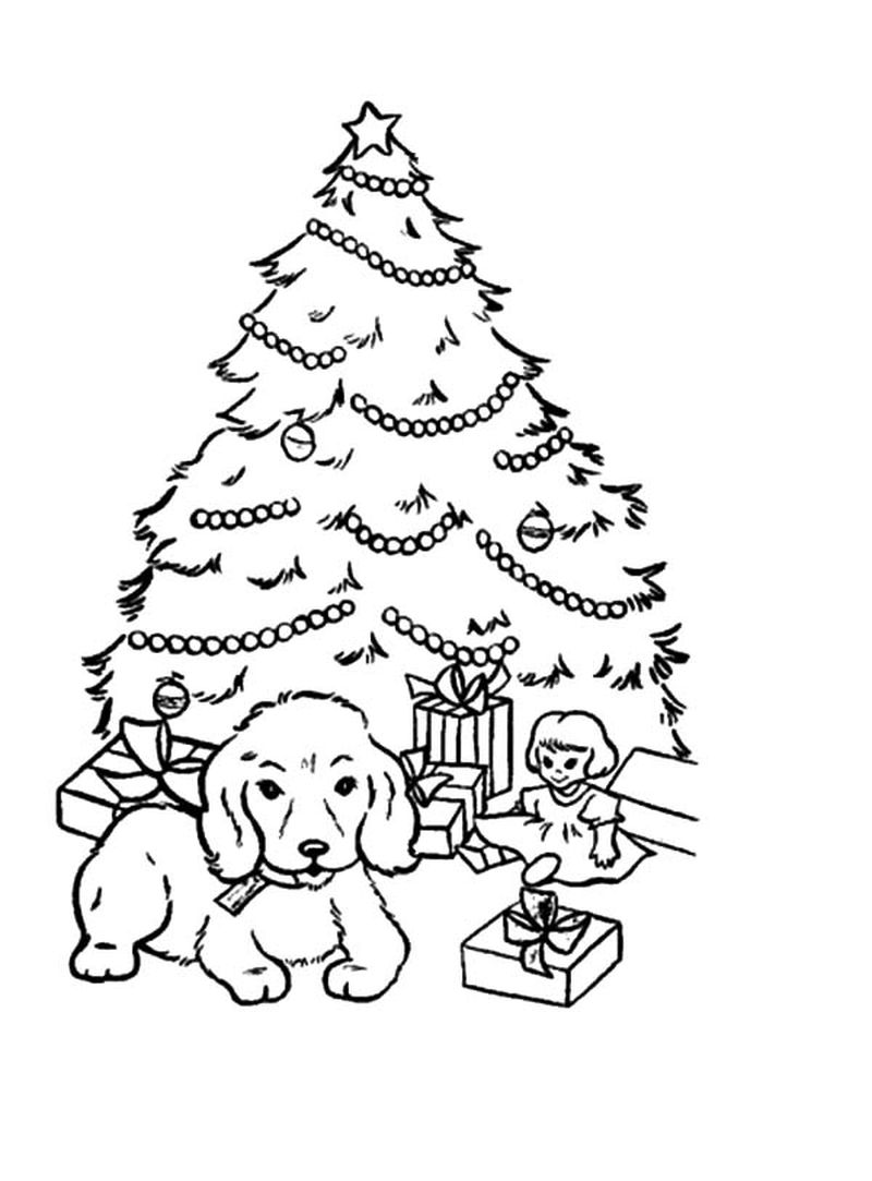 Santa Claus And Christmas Tree Coloring Pages