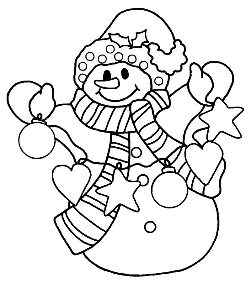 Santa Claus And Snowman Coloring Pages 1