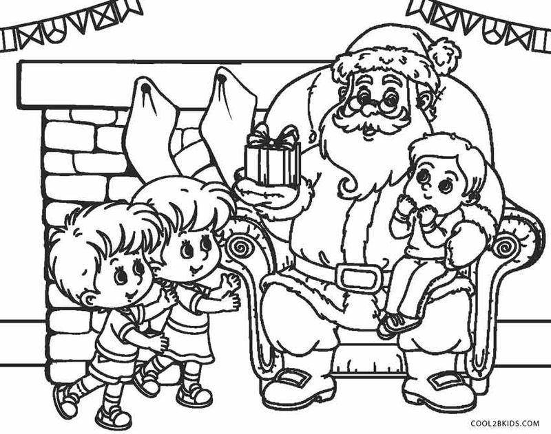Santa Claus Sleigh And Reindeer Coloring Page