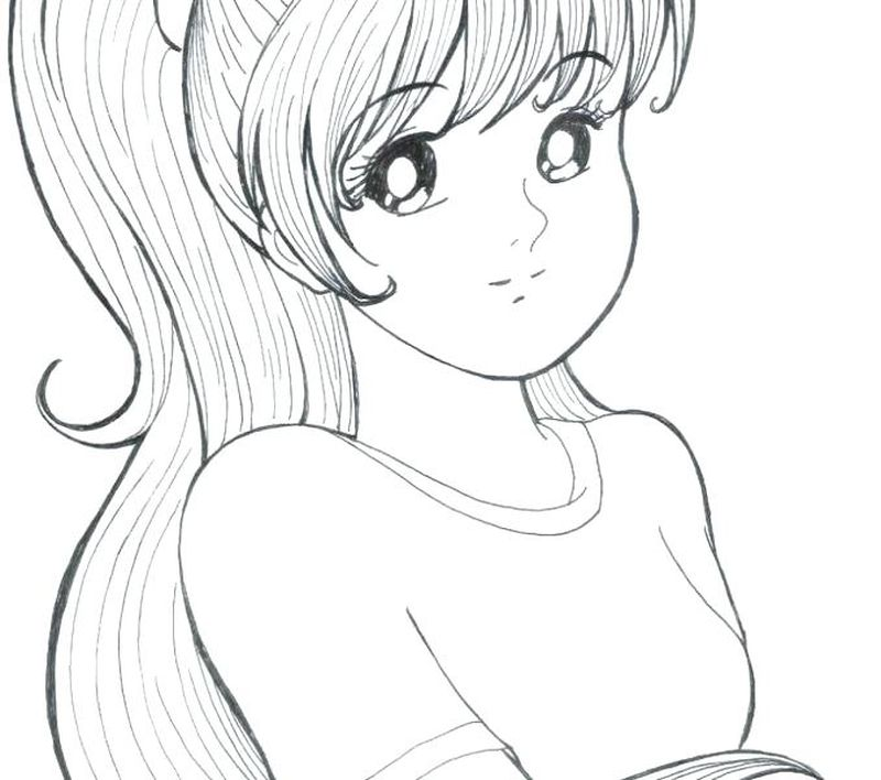 Sexy Anime Girl Coloring Pages