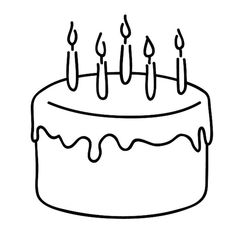 Simple Birthday Cake Coloring Page