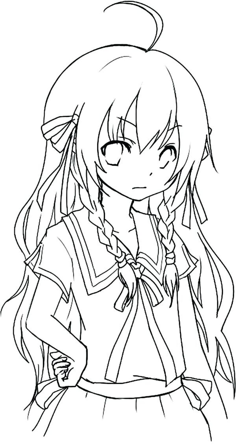 Sweet Girl Anime Coloring Pages