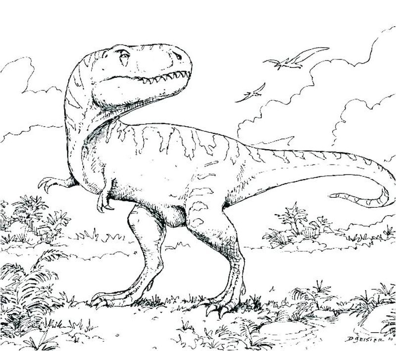 Swimming Dinosaur Coloring Pages